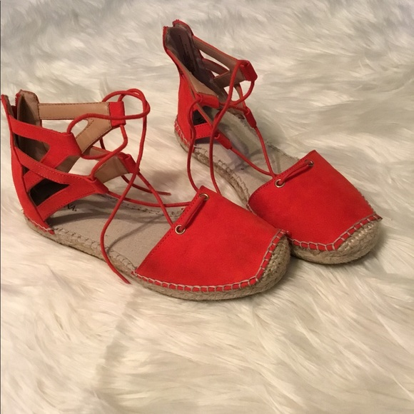 Red Flat Lace Up Tie Ankle Espadrilles